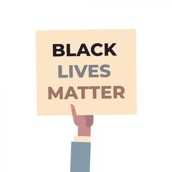 Hand hält schwarze leben materie banner sensibilisierungskampagne gegen rassendiskriminierung der dunklen hautfarbe