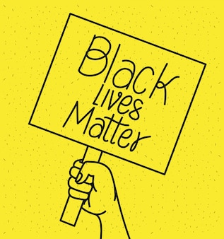 Hand hält schwarze leben materie banner