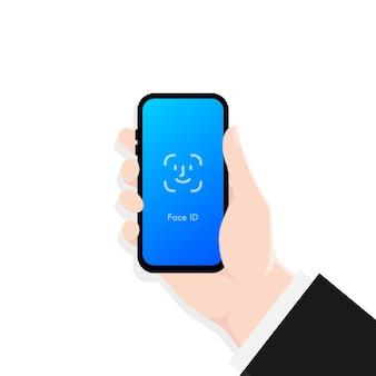 Hand hält smartphone-bildschirmsperre passcode-schnittstelle