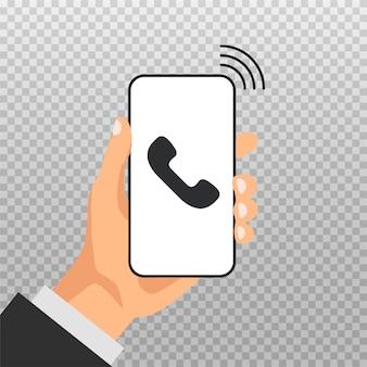 Hand hält smartphone mit eingehendem anruf auf einem bildschirm. servicekonzept anrufen. beantworten sie den anruf. modernes symbol für webbanner, websites, infografiken, die auf transparentem hintergrund isoliert werden.