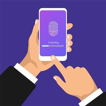 Hand hält smartphone mit scan-fingerabdruck. berühren sie die id im mobiltelefon.
