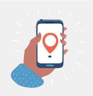 Hand hält smartphone mit stadtplan-gps-navigator