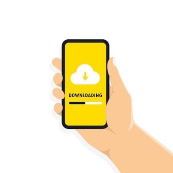 Hand hält smartphone mit taste zum download und cloud auf dem bildschirm