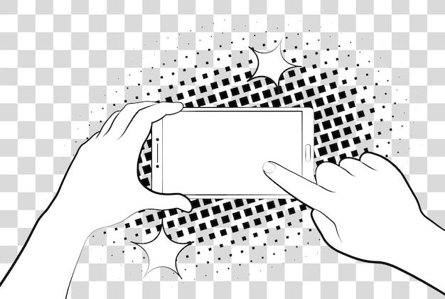 Hand hält smartphone vektor-illustration auf hintergrund isoliert