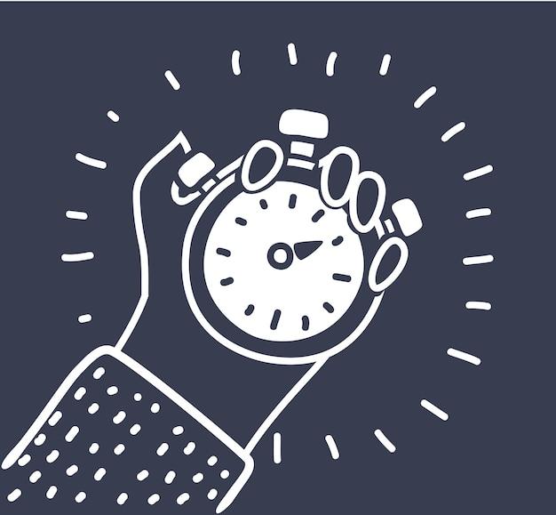 Hand hält stoppuhr-symbol einfache illustration der hand hält stoppuhr-vektor-symbol für web