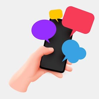 Hand hält telefon mit kurznachrichten. bunte sprechblasenboxen auf dem smartphonebildschirm