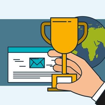 Hand hält trophäe e-mail digitale marketing-welt