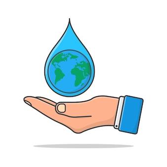 Hand hält wassertropfen-symbol isoliert auf weiß