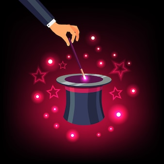Hand hält zauberstab über einen magischen hut