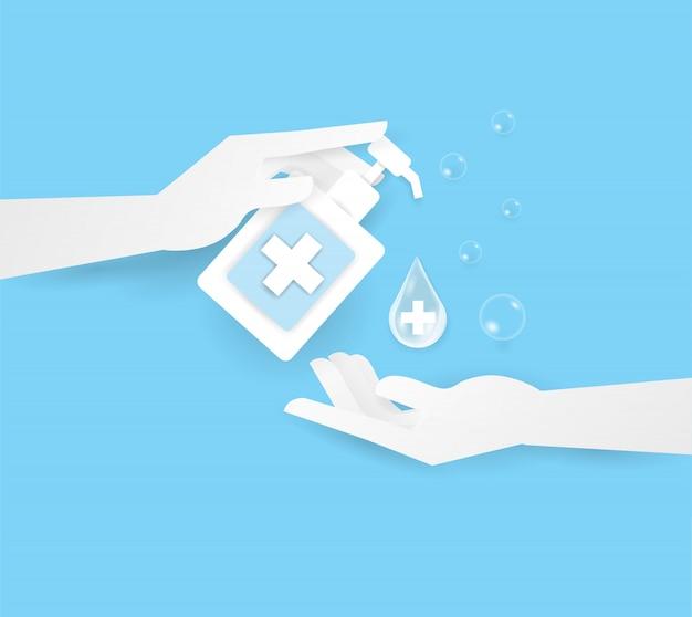 Hand halten alkohol oder suppe in der flasche oben zwei menschliche hand, waschen sie ihre hand.