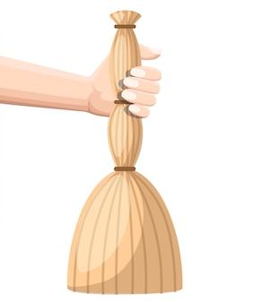 Hand halten besen. gegenstand zur reinigung. illustration auf weißem hintergrund