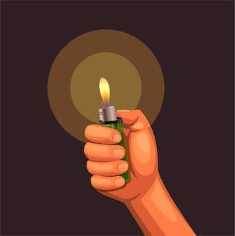 Hand halten brennendes feuerzeug bei dunkelheit