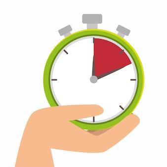 Hand halten chronometer uhr lieferung symbol