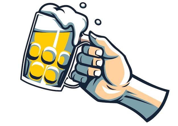 Hand halten ein glas bier