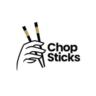 Hand halten essstäbchen-logo-vorlage