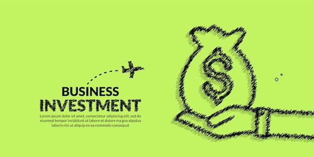 Hand halten geldbeutel mit pflanzenhintergrund geschäftsstrategie und return-on-investment-konzept