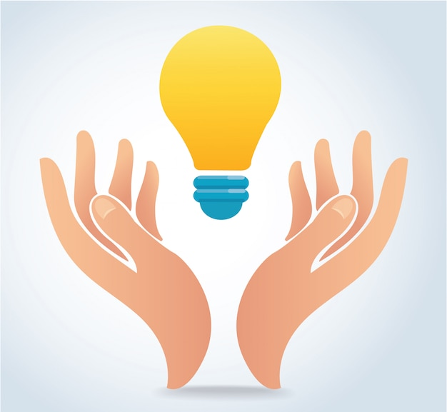Hand halten glühbirne vektor