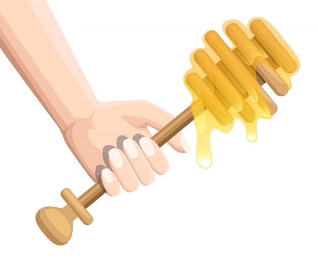 Hand halten hölzernen honigschöpflöffel. honigstange, fließender honig. küchenutensilien zum sammeln von honig. illustration auf weißem hintergrund
