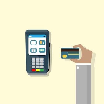 Hand halten kreditkarte pos terminal cash machine