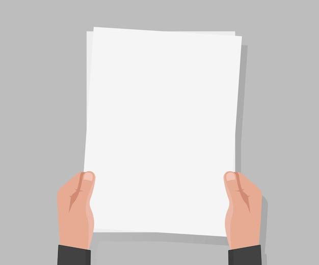 Hand halten leere a4-papier-vektor-illustration.