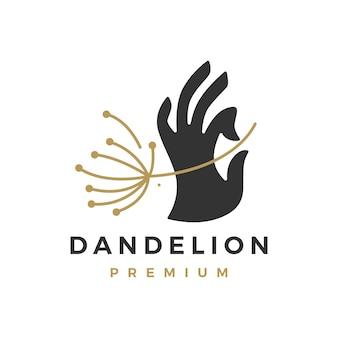 Hand halten mit löwenzahn-logo-vorlage