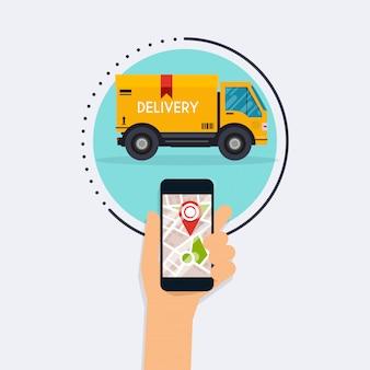Hand halten mobiles smartphone mit mobiler app zustellungsverfolgung. modernes flaches kreatives info-grafikdesign auf lieferverfolgungsanwendung. modernes illustrationskonzept des flachen entwurfs.