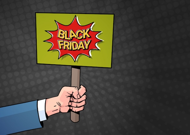 Hand halten plakat banner mit black friday sale text
