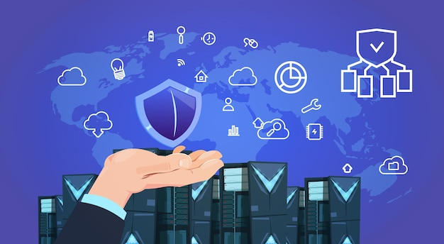 Hand halten schild datenschutz cloud-server-center