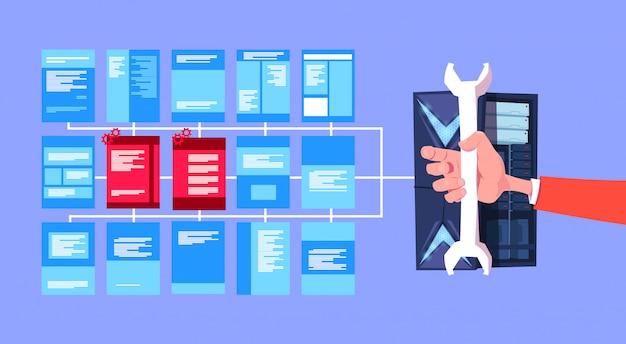 Hand halten schraubenschlüssel datenschutz rechenzentrum mit hosting-servern infografik-netzwerk und datenbank-internet-center kommunikationsunterstützung banner