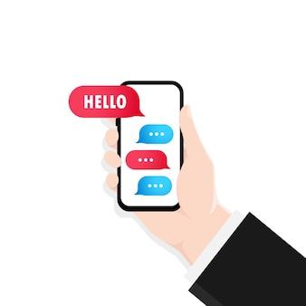 Hand halten smartphone mit dialogfensterillustration