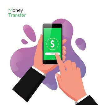 Hand halten smartphone mit online-geldtransfer-app-konzept. technologie für das online-geschäft mit flüssigem hintergrund.