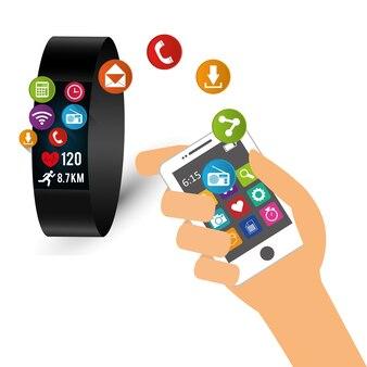 Hand halten smartphone smart watch teilen tech-gerät