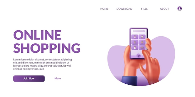 Hand halten und berühren 3d süßes mobiles smartphone mit shop-app-e-commerce. online-shopping-illustrationskonzept mit 3d-symbol.