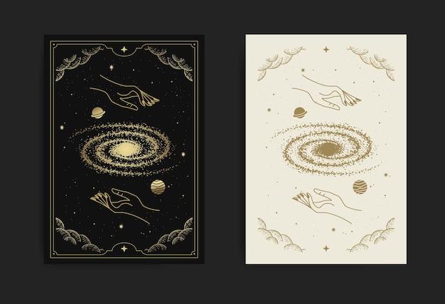 Hand halten universum oder weltraumkarte, mit gravur, luxus, esoterisch, boho, spirituell, geometrisch, astrologie, magische themen, für tarot-leserkarte. premium-vektor