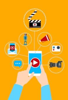 Hand halten zelle smart phone video blog konzept