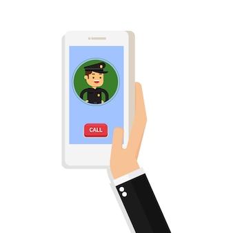 Hand halten zelle smartphone anwendung online-polizeidienst