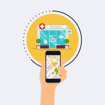 Hand haltendes mobiles smartphone mit suchapotheke für mobile anwendungen. finden sie am nächsten auf dem stadtplan. modernes konzept des flachen designstils.