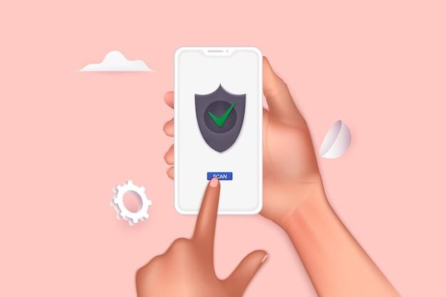 Hand haltendes telefon mit sicherem zugriff auf vertrauliche dateien und privater sperre. 3d-vektor-illustrationen.