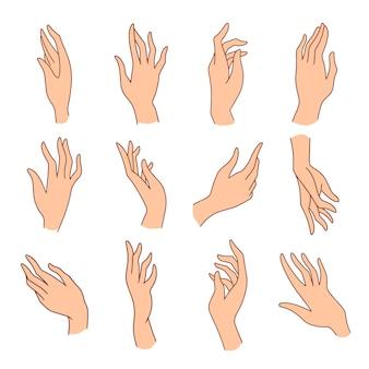 Hand, handfläche oben, schwarzweiss-illustration.