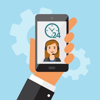 Hand holdding telefon mit weiblichem kundenkontaktcenter