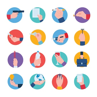 Hand holdings icons set