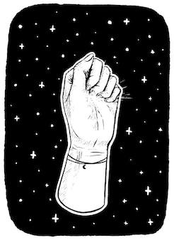 Hand in der faust auf dem hintergrund der sterne. motivationsplakat isoliert in weiß. handgezeichnete vektor-illustration. zeichnen im skizzenstil.