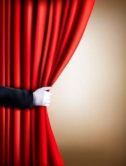 Hand in einen weißen handschuh ziehen vorhang weg. theater.