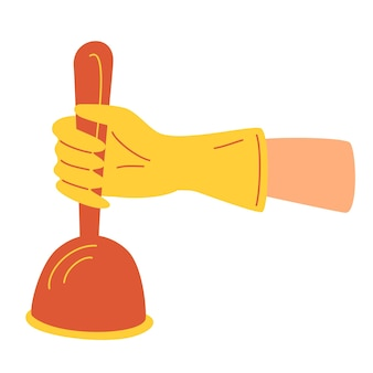 Hand in gummihandschuh mit kolben für saubere toilette. klempner in uniform reinigt die kanalisation. frische, hygiene und glanz im haus. flache vektor-cartoon-illustration.