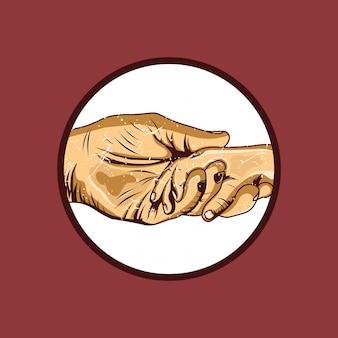 Hand in hand mit vater und sohn