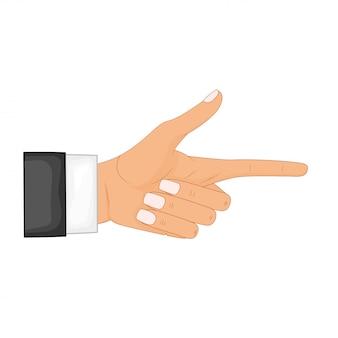 Hand in pose. männliche oder weibliche hand im karikaturstil