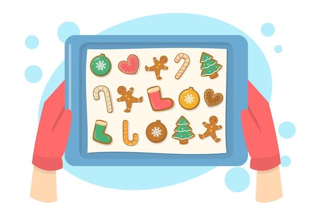 Hand in roten handschuhen, die tablett mit leckerer lebkuchenplätzchensammlung halten. kochdessert zum weihnachtsessen. süßes traditionelles essen zubereiten. illustration