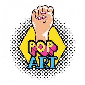 Hand in zeichen power pop-art