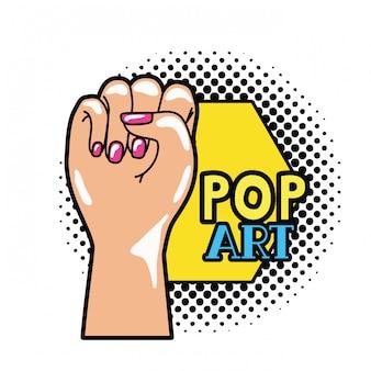 Hand in zeichen power pop-art