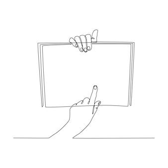 Hand kontinuierliche strichzeichnung mit leerem buchvektor Premium Vektoren